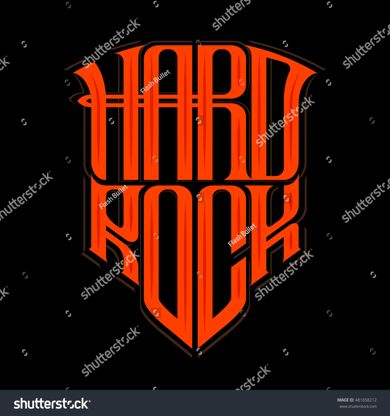 Hard Rock Music Print Hipster Vintage Stock Vector (Royalty