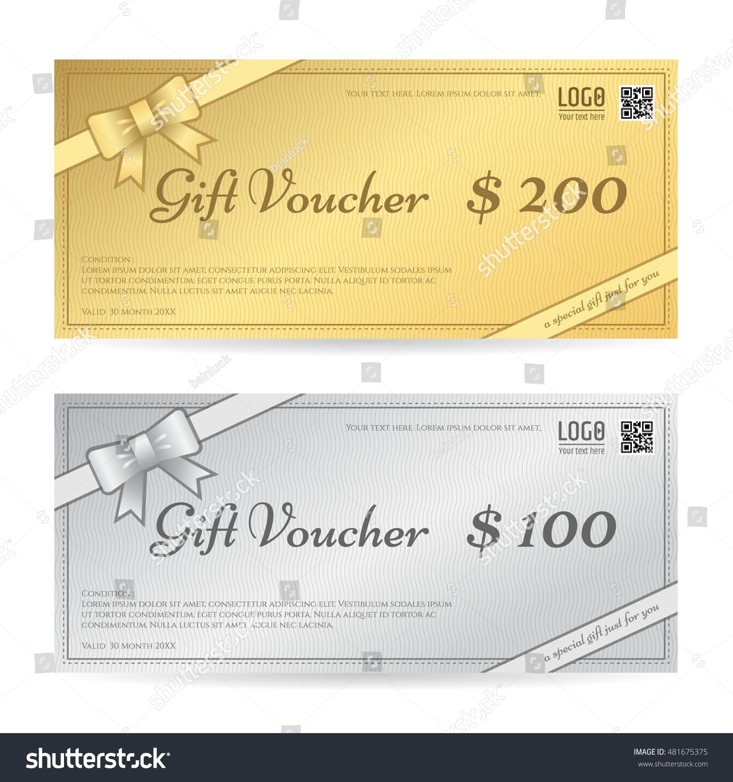 Gift Voucher Gift Certificate Template Ribbon Stock Vector