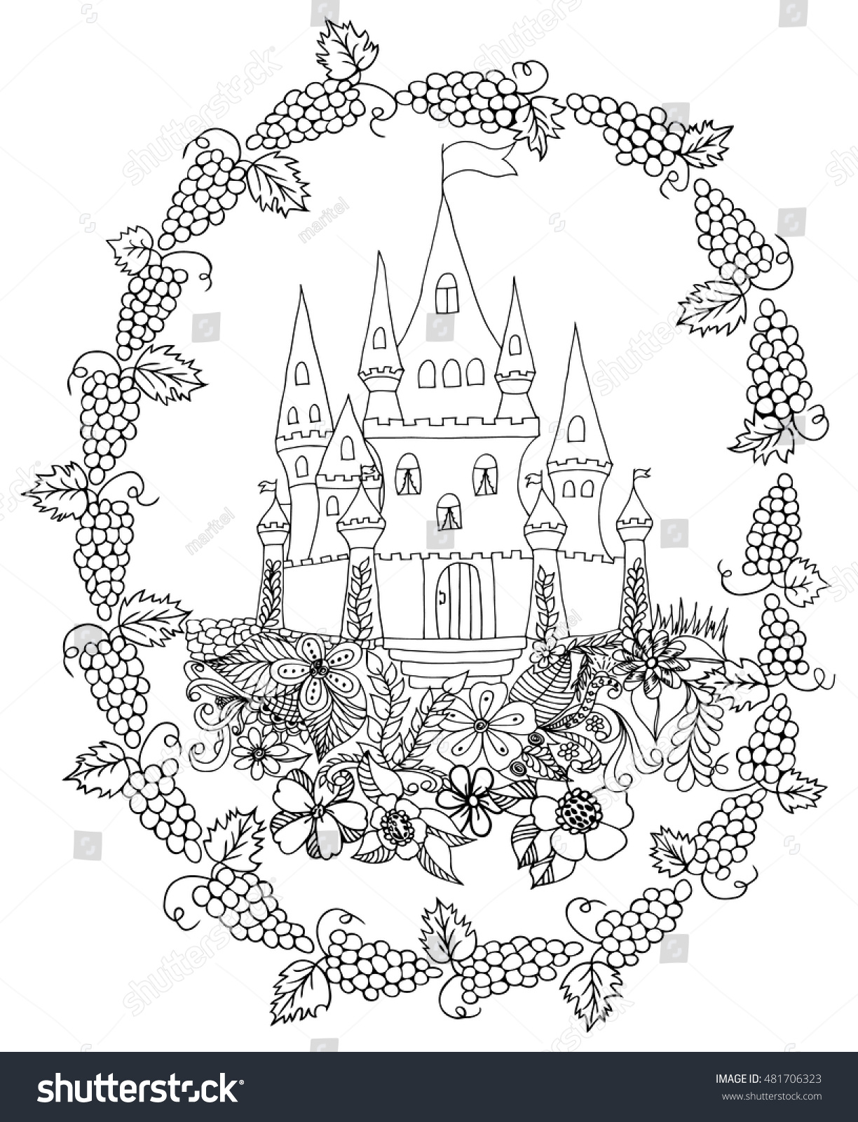 Vector illustration zentangle palace among flowers stock vector Trippy Coloring Pages Pattern Coloring Pages Zentangle Coloring Pages Tree