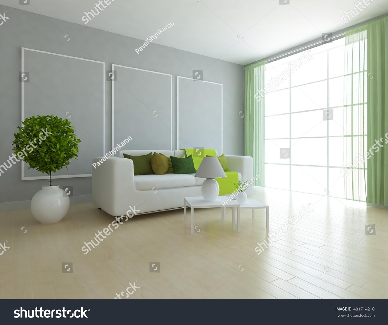 Grey Room Sofa Green Curtains Living Stock Illustration