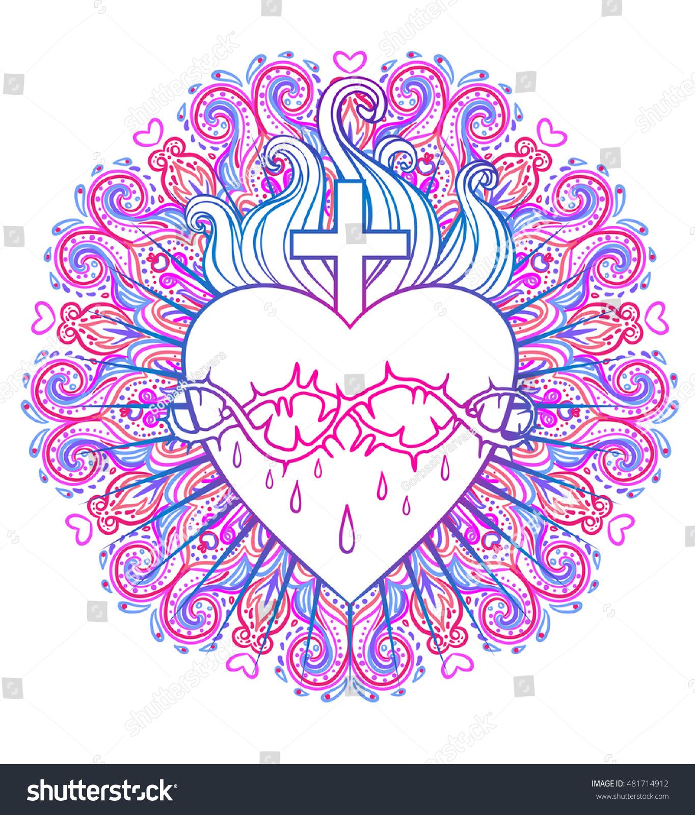 Sacred Heart Jesus Over Round Mandala Stock Vector (Royalty Free ...