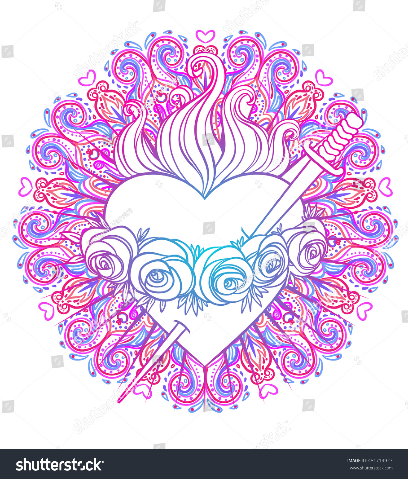 Immaculate Heart Blessed Virgin Mary Queen Stock Vector (Royalty ...