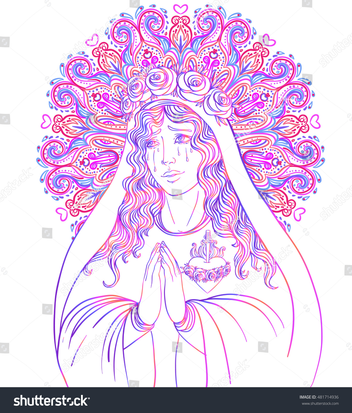 Lady Sorrow Devotion Immaculate Heart Blessed Stock Vector (Royalty ...