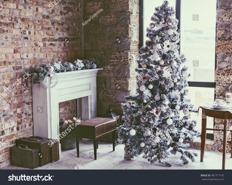 Winter Home Decor Christmas Tree Loft Stock Photo