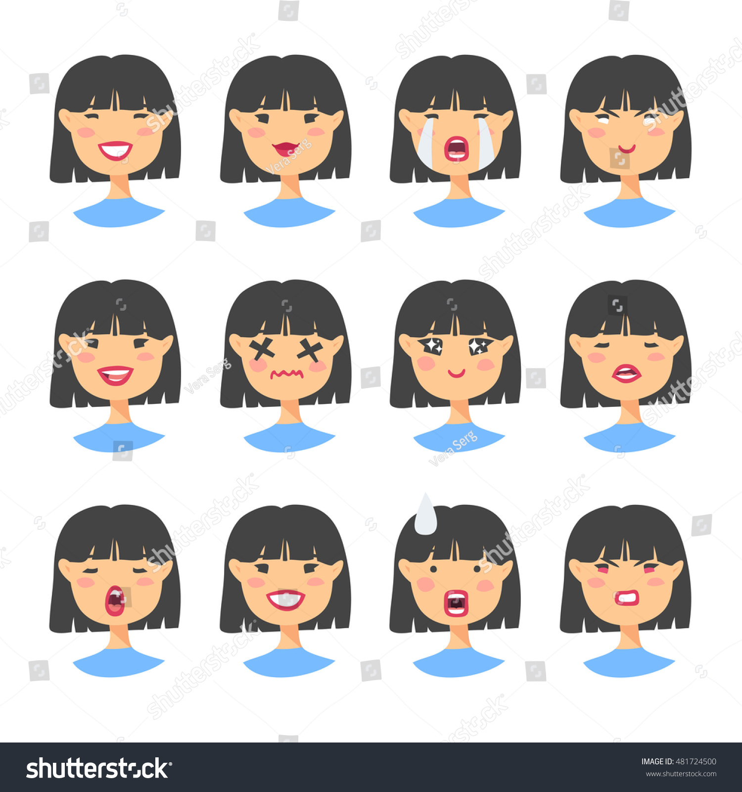 set emotional asian characters cartoon style stock vector