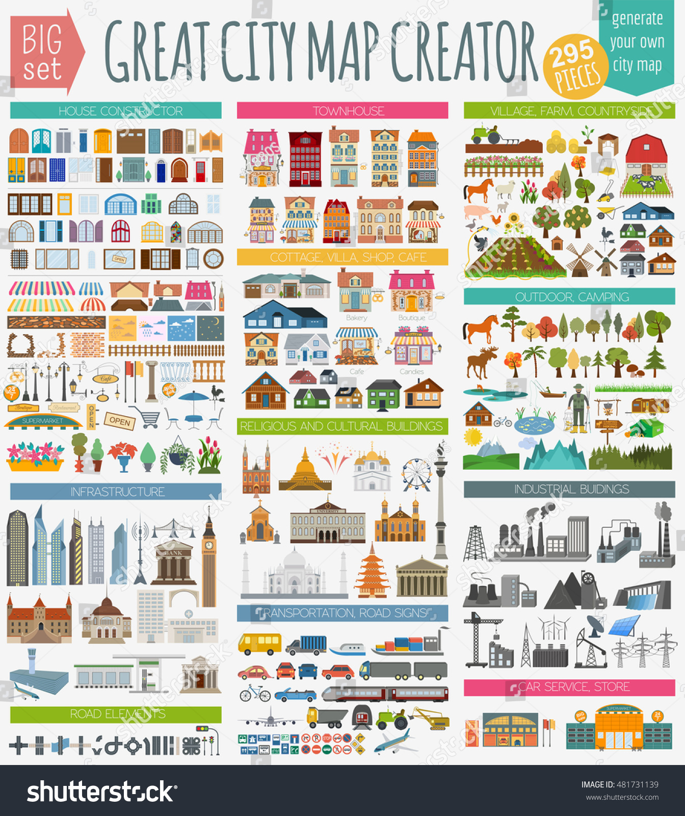 Great City Map Creator House Constructor Stock Vector 481731139 ...