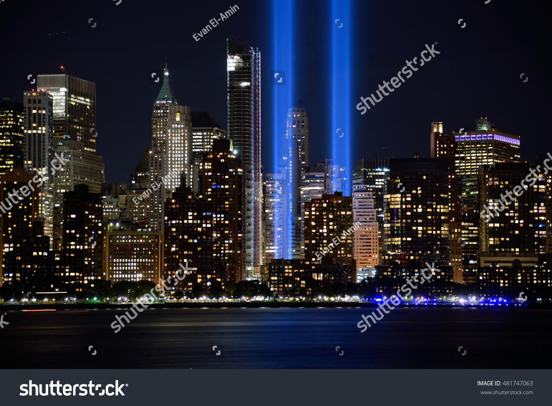 Jersey City Nj Usa September Stock Photo Shutterstock - Two beams light new yorks skyline beautiful tribute 911