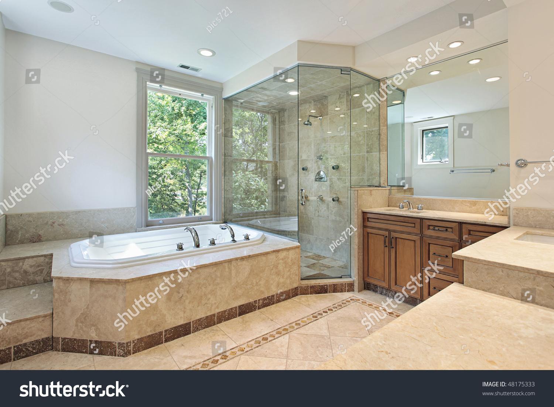 Master Bath Luxury Home Step Tub Stock Photo (Royalty Free) 48175333 ...