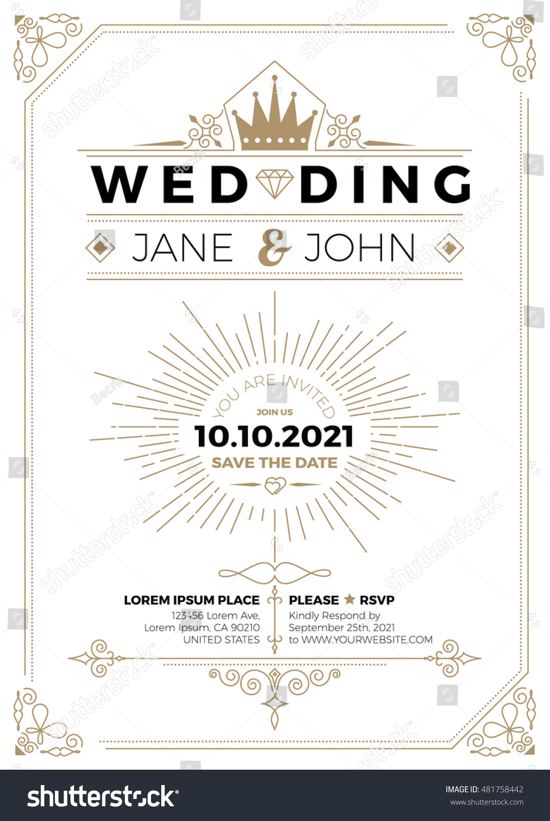 Vintage Wedding Invitation Card A 5 Size Stock Vector (Royalty Free ...