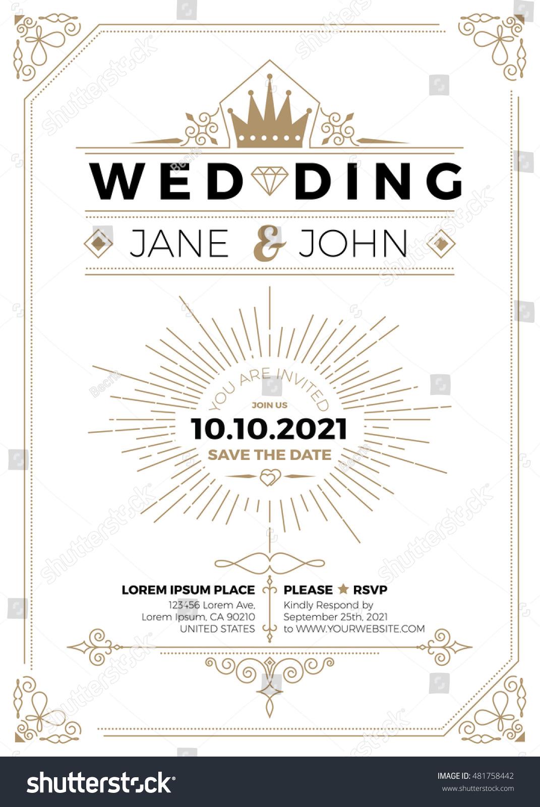 Vintage Wedding Invitation Card A5 Size Stock Vector 481758442