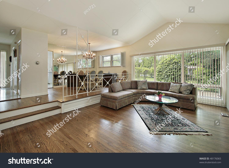 Split Level Living Room Living Dining Room Split Level Suburban Stock Photo 48176065
