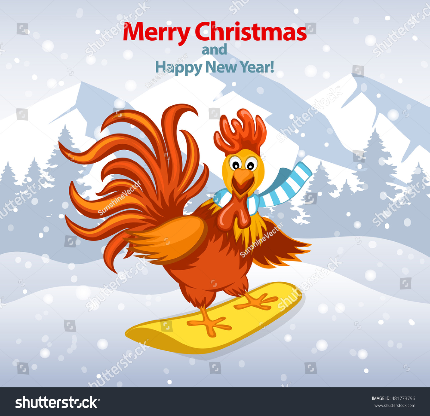 2017 merry christmas and happy new year greeting card with cute funny rooster on snowboard vector