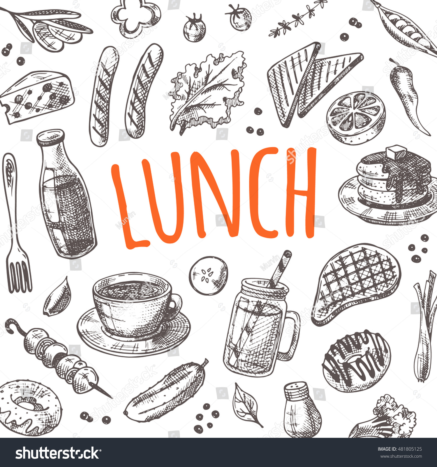 Restaurant Kitchen Hand lunch card elements kitchen hand drawn stock vector 481805125