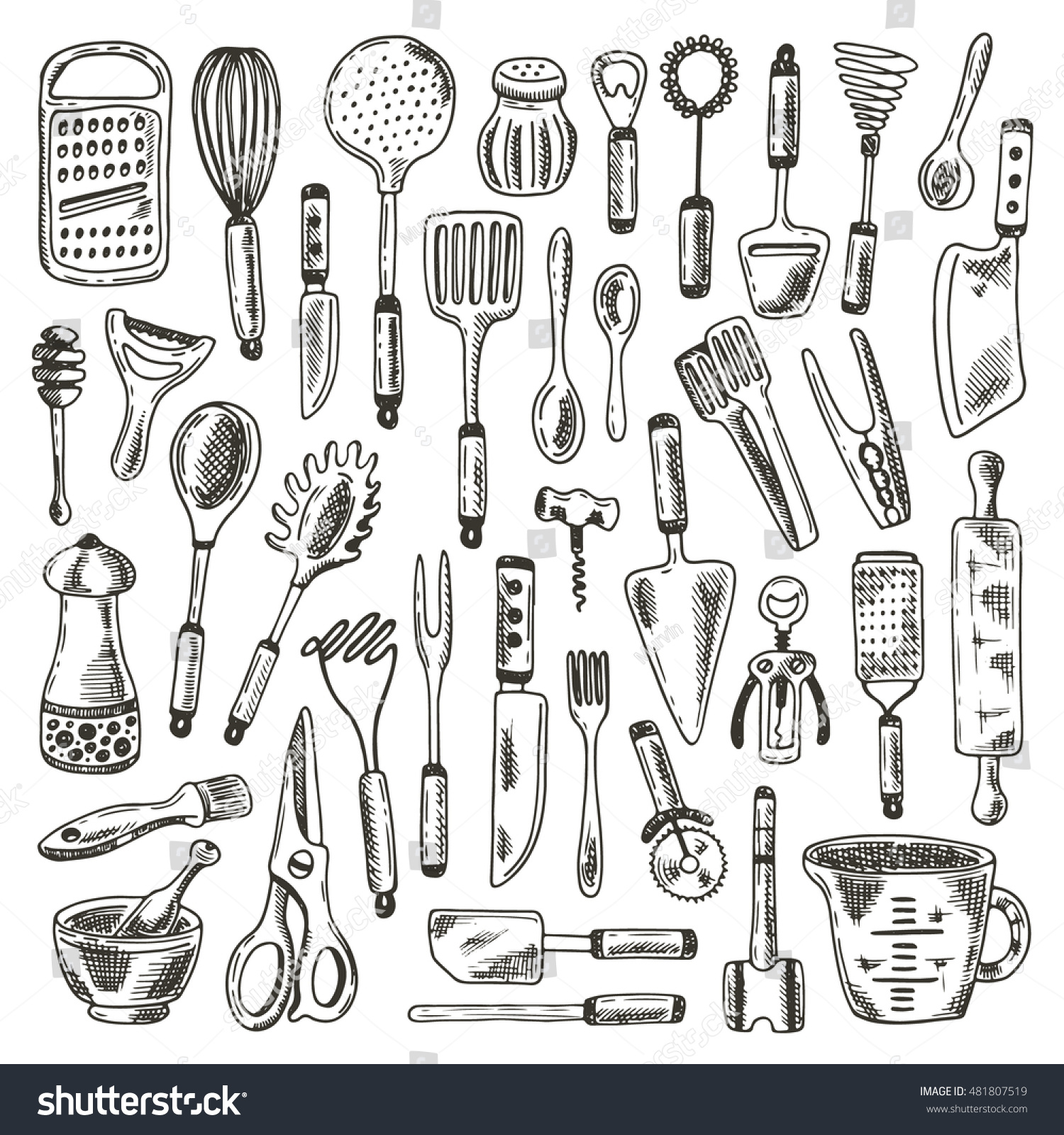 Kitchen Supplies Set. Hand Drawn Vector Illustration. Peeler, Grater,  Spoon, Corkscrew