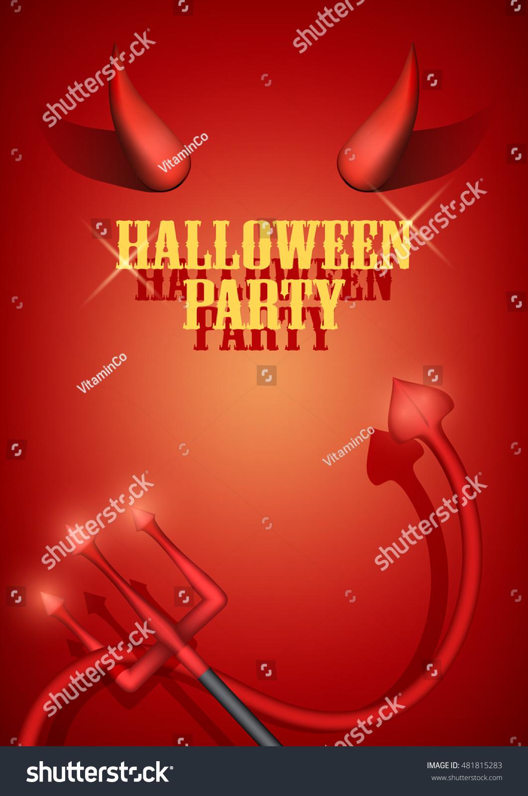 Halloween Party Invitation Devil Horns Tail Stock Vector (Royalty ...
