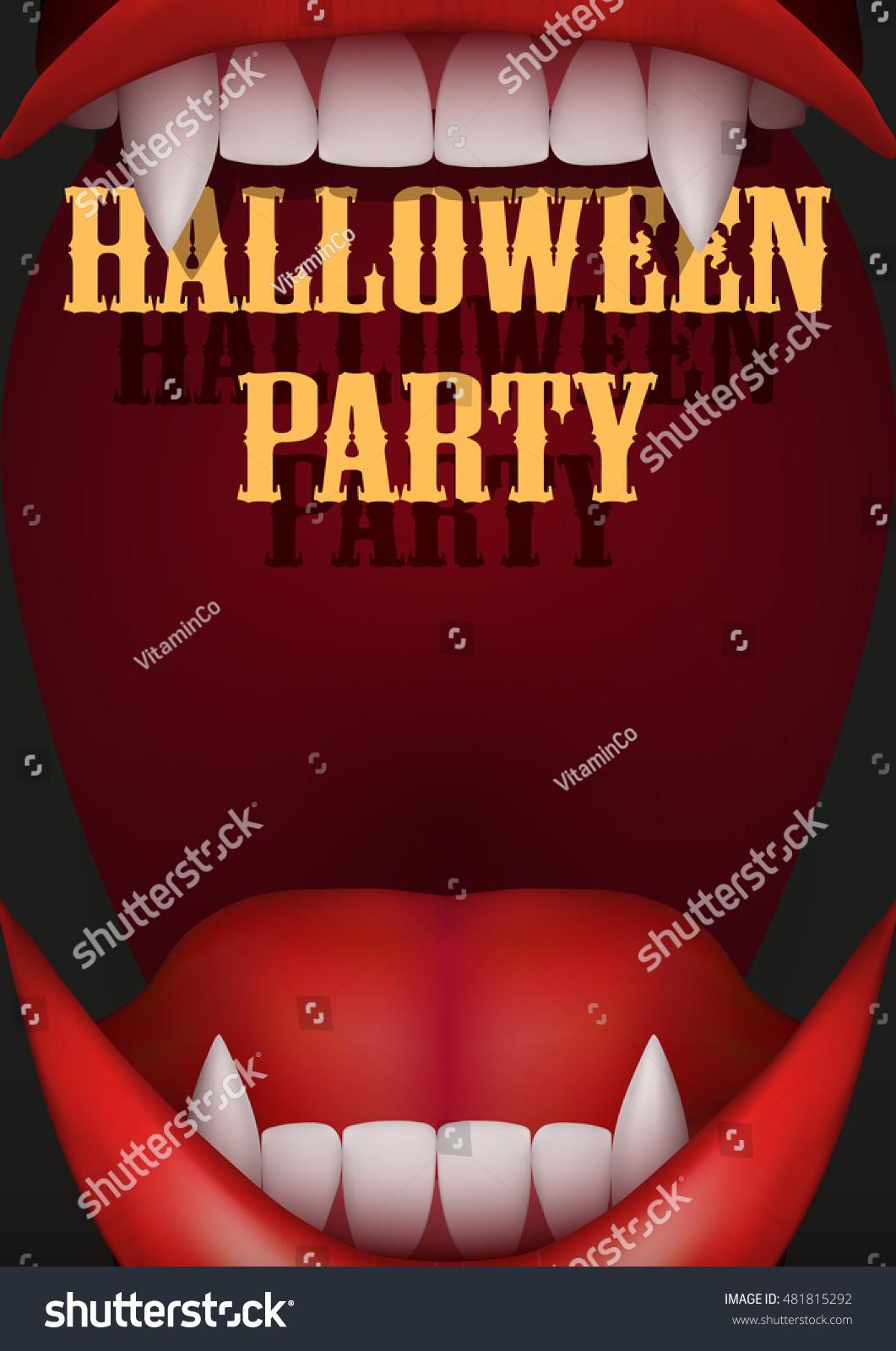 Halloween Party Invitation Vampire Mouth Open Vector de stock (libre ...