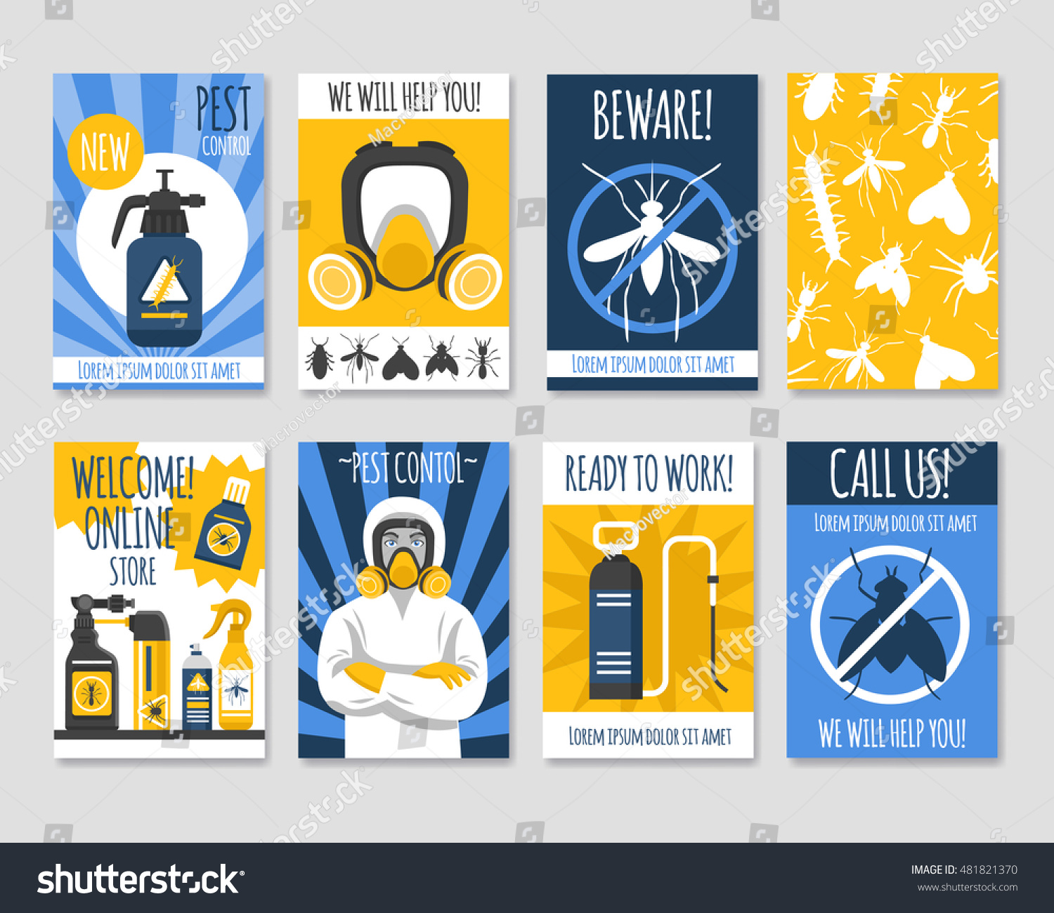 Pest Control Isolated Template Set Presentation Stock Vector