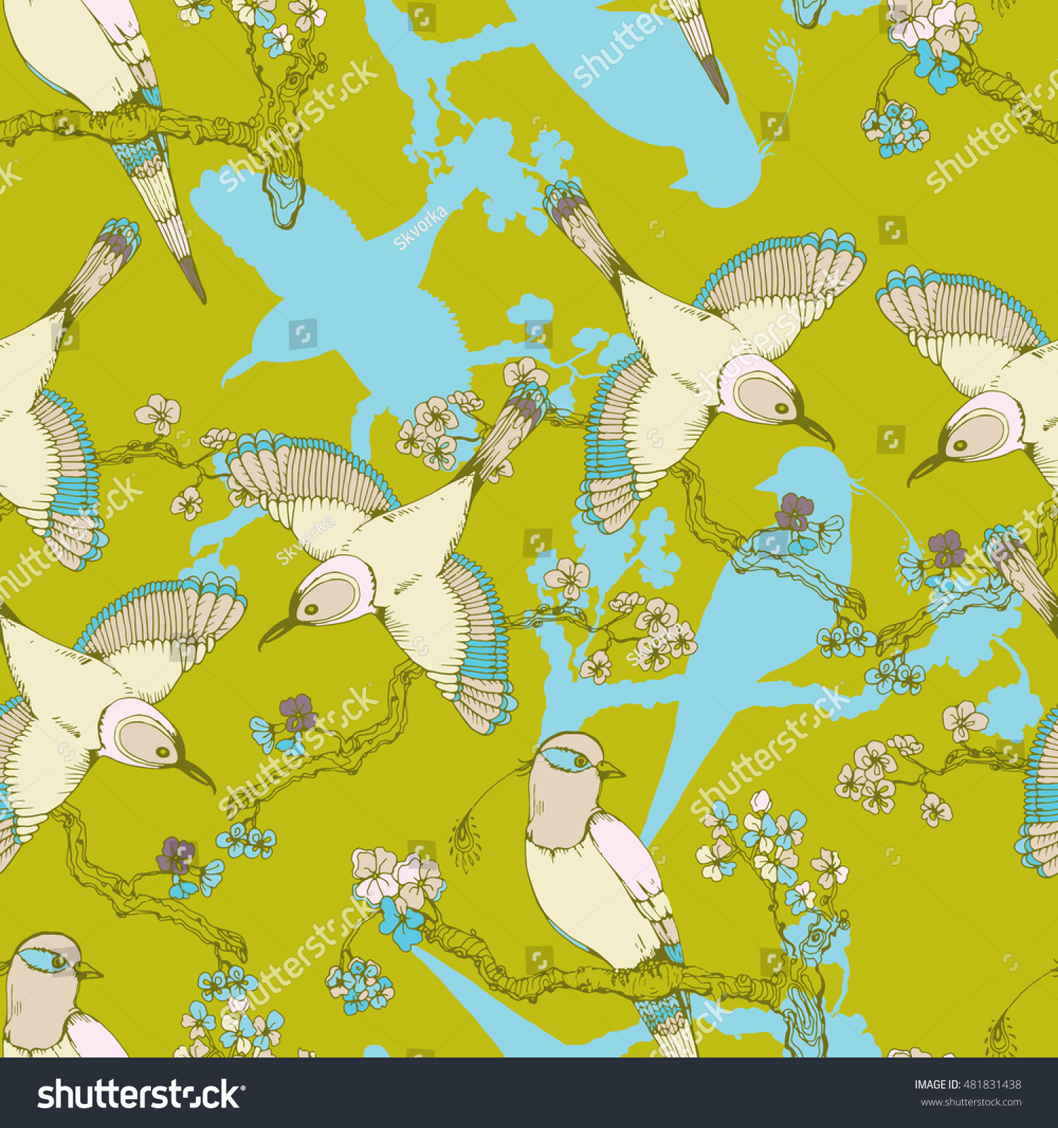 Seamless Hand Drawing Vintage Pattern Little Stock Vector (Royalty ...