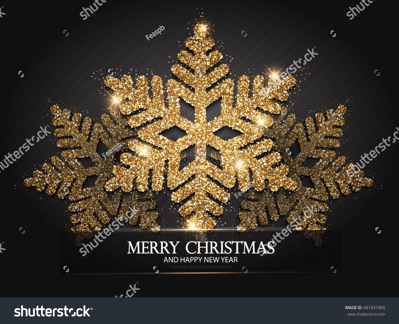 Elegant Christmas Background With Snowflakes Stock Vector: Elegant Christmas Background Shining Gold Snowflakes Stock