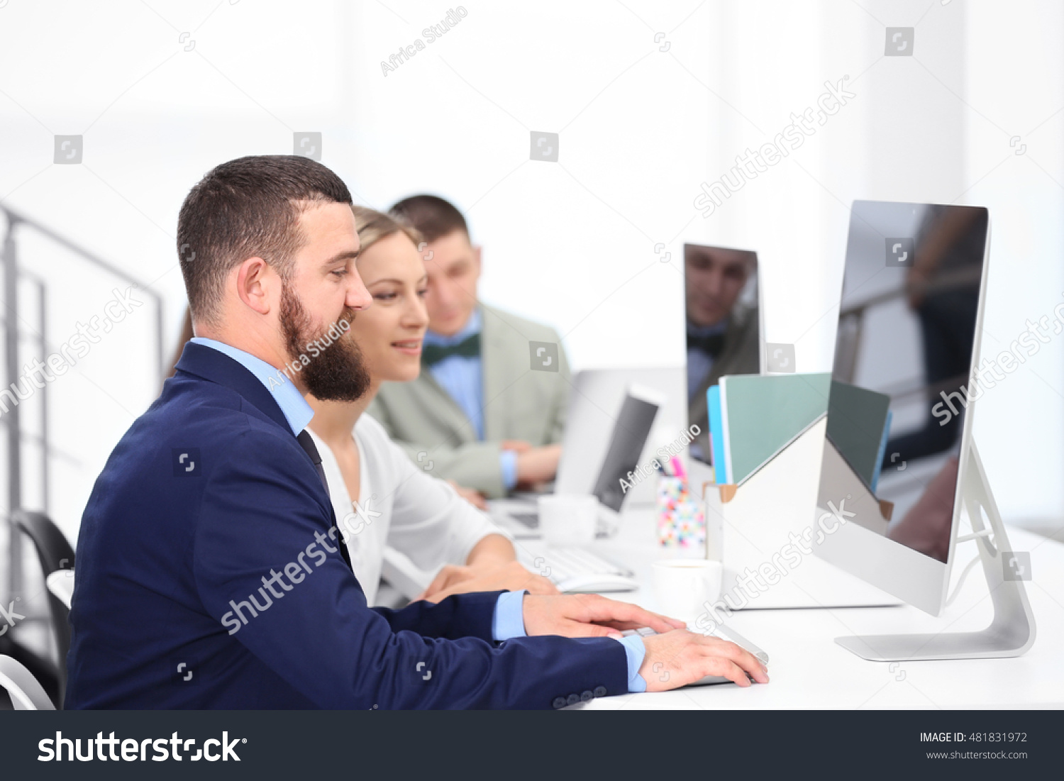 People Working On Computers Office Stock Photo 481831972 ...