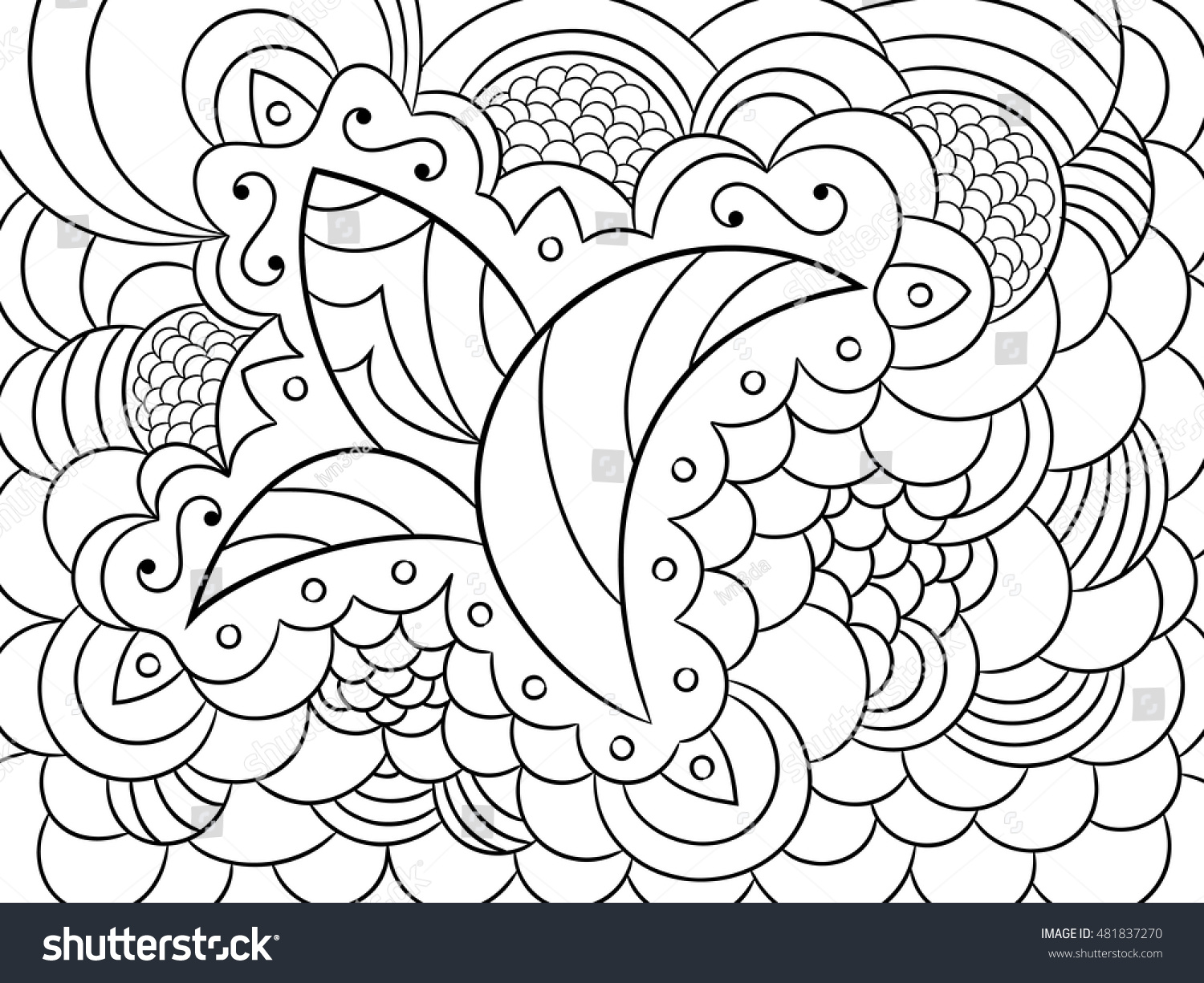 coloring book page adults sketch abstract stock vector 481837270