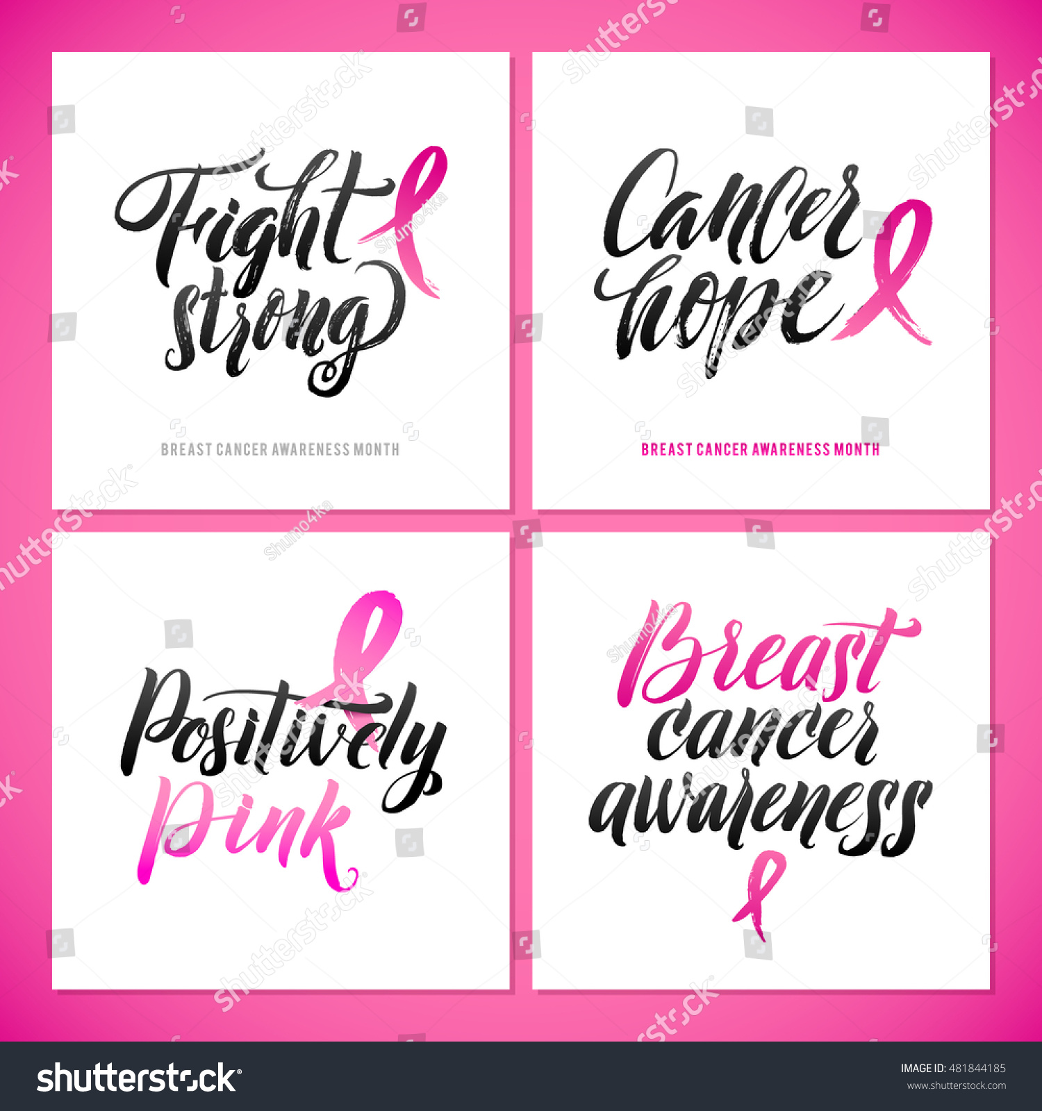 Vector breast cancer awareness calligraphy poster stock