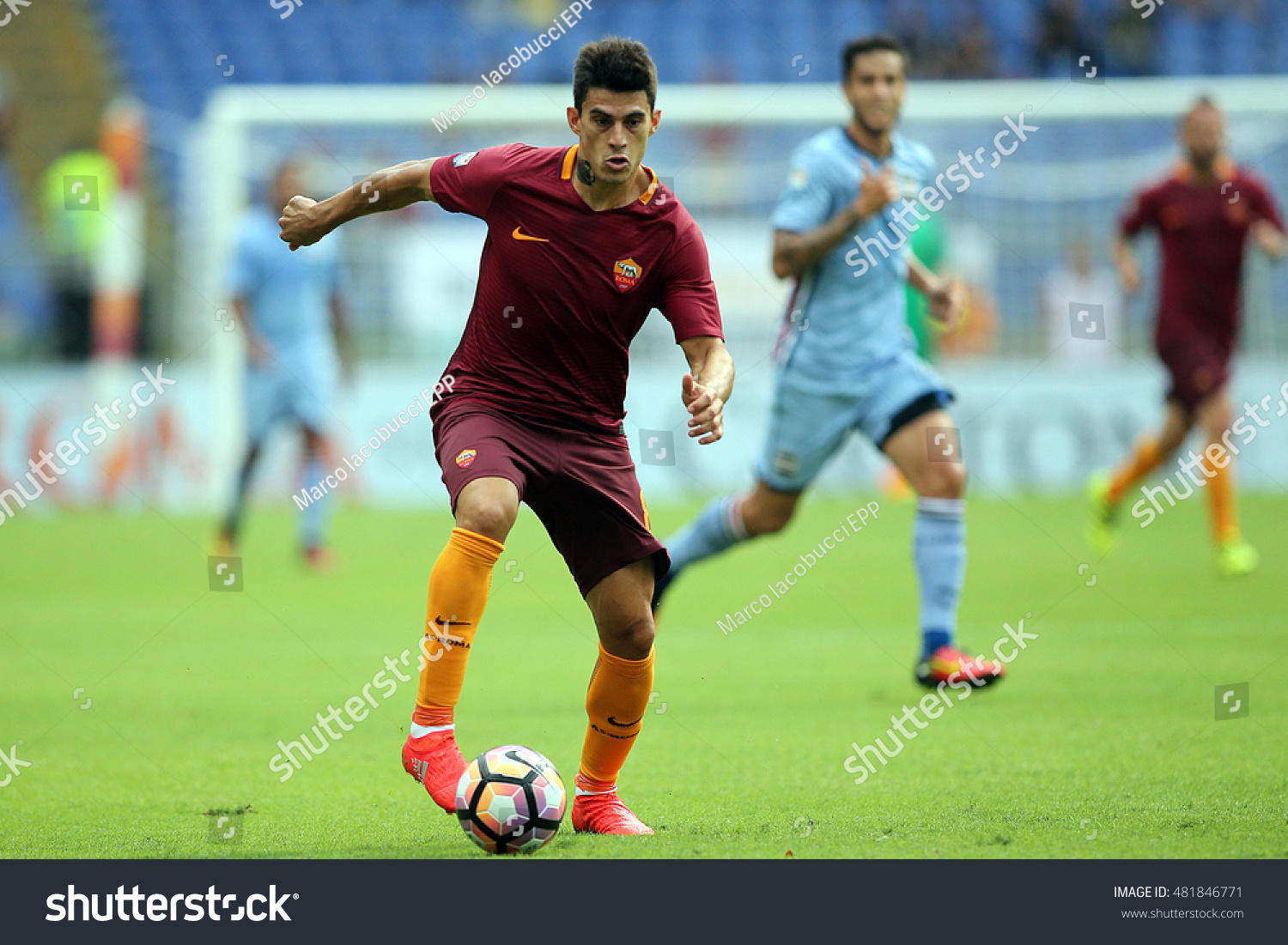 Rome Italy 11 september 2016 Vasco Regini and Perotti in action during the italian Serie A league match between As Roma and Sampdoria at Olimpic Stadium on Seprember 11 2016 in Rome Italy