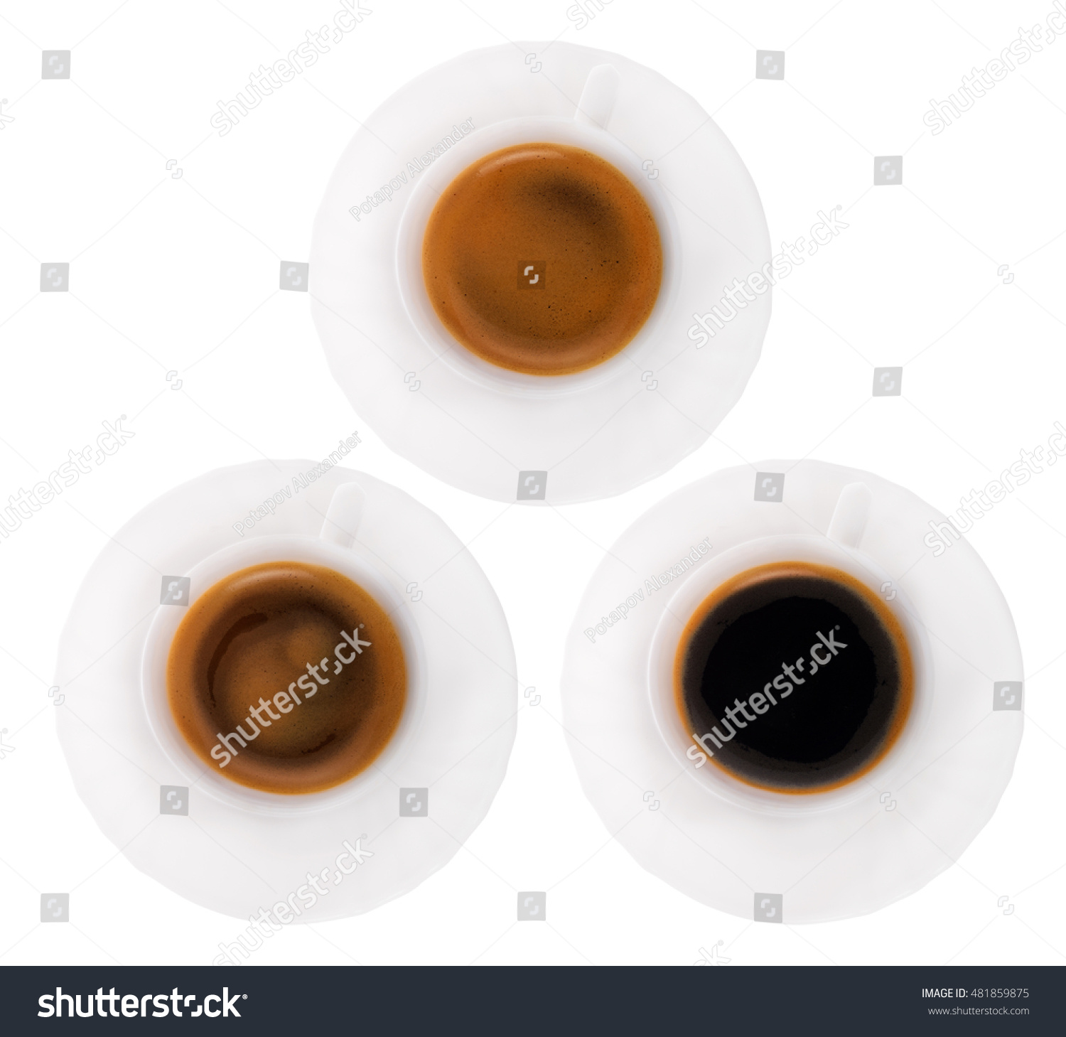 Top View Coffee Mugs Group Isolated Stock Royalty Free