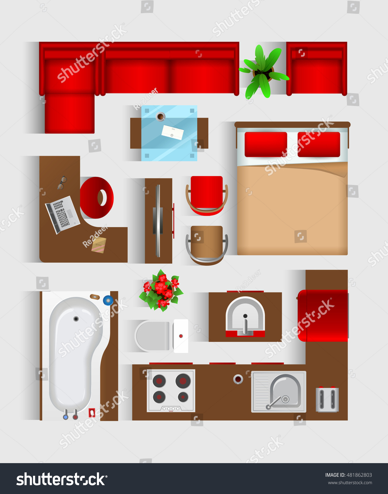 Set Top View Interior Icon Design Stock Vector 481862803 ... for Modern Furniture Top View  75tgx