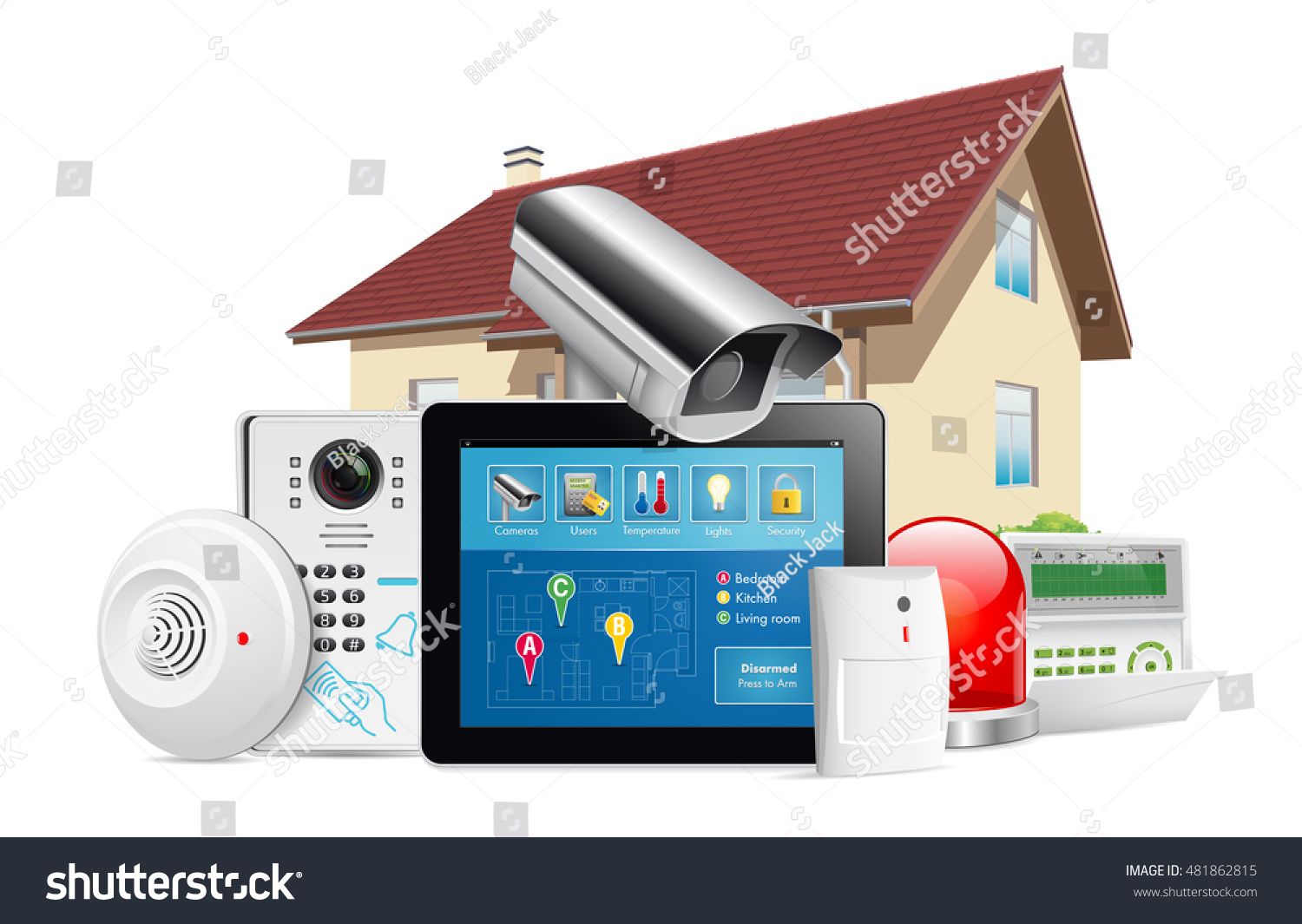 Home security system concept motion detector stock vector for Security camera placement tool