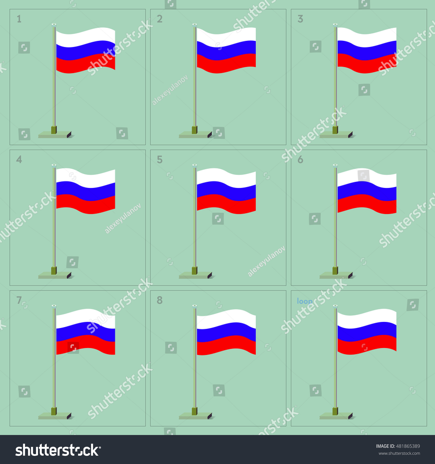 Vector Russian Country Waving Flag Animation Stock-Vektorgrafik ...