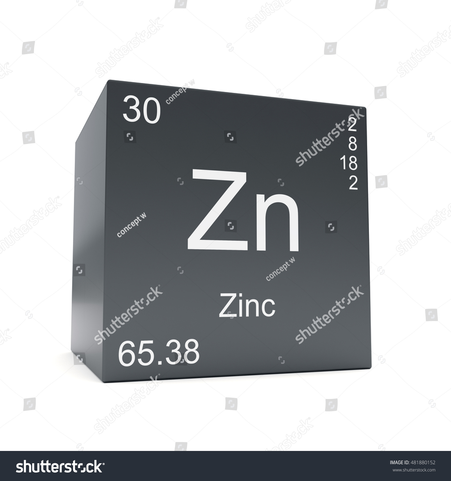 Zinc chemical element symbol periodic table stock illustration zinc chemical element symbol from the periodic table displayed on black cube 3d render urtaz Images