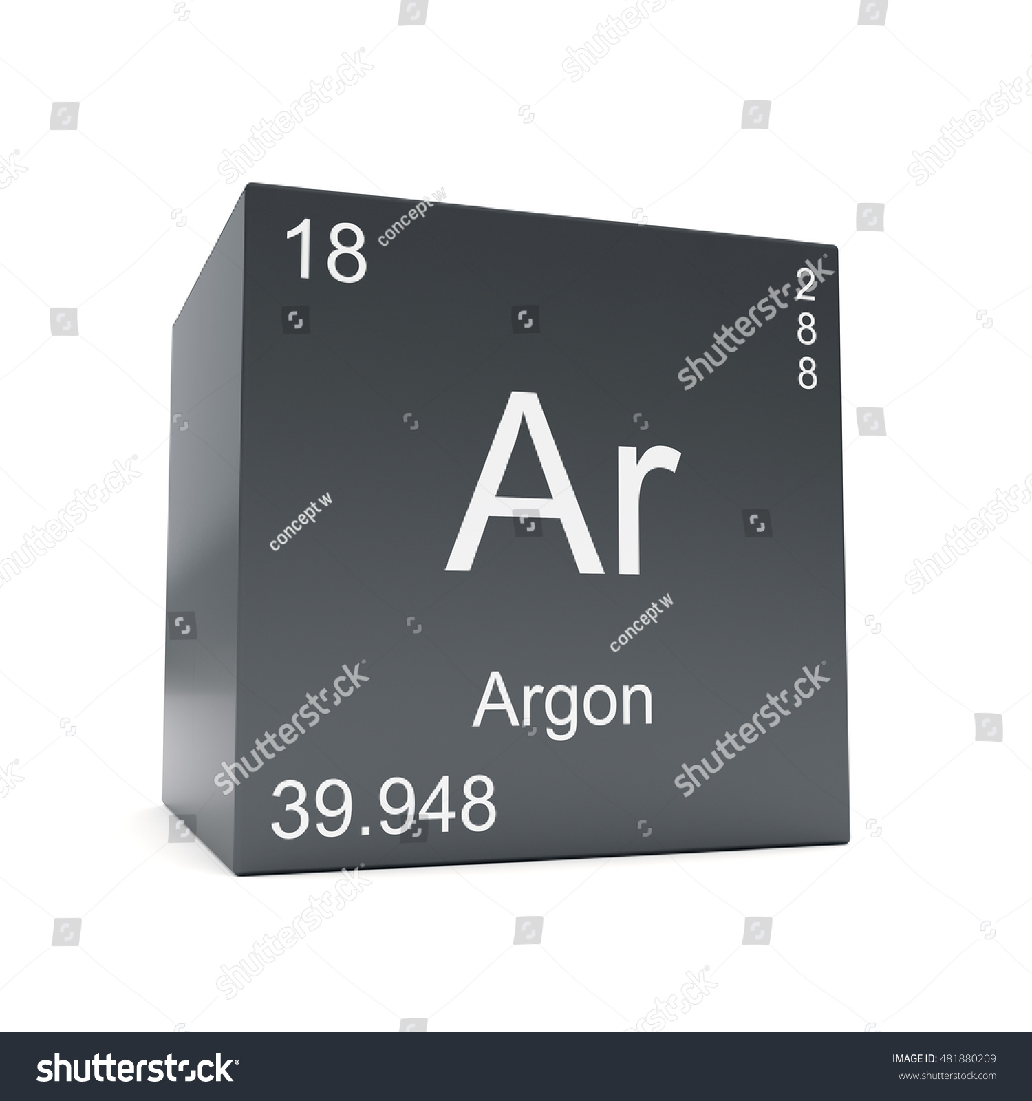 Argon chemical element symbol periodic table stock illustration argon chemical element symbol from the periodic table displayed on black cube 3d render gamestrikefo Choice Image
