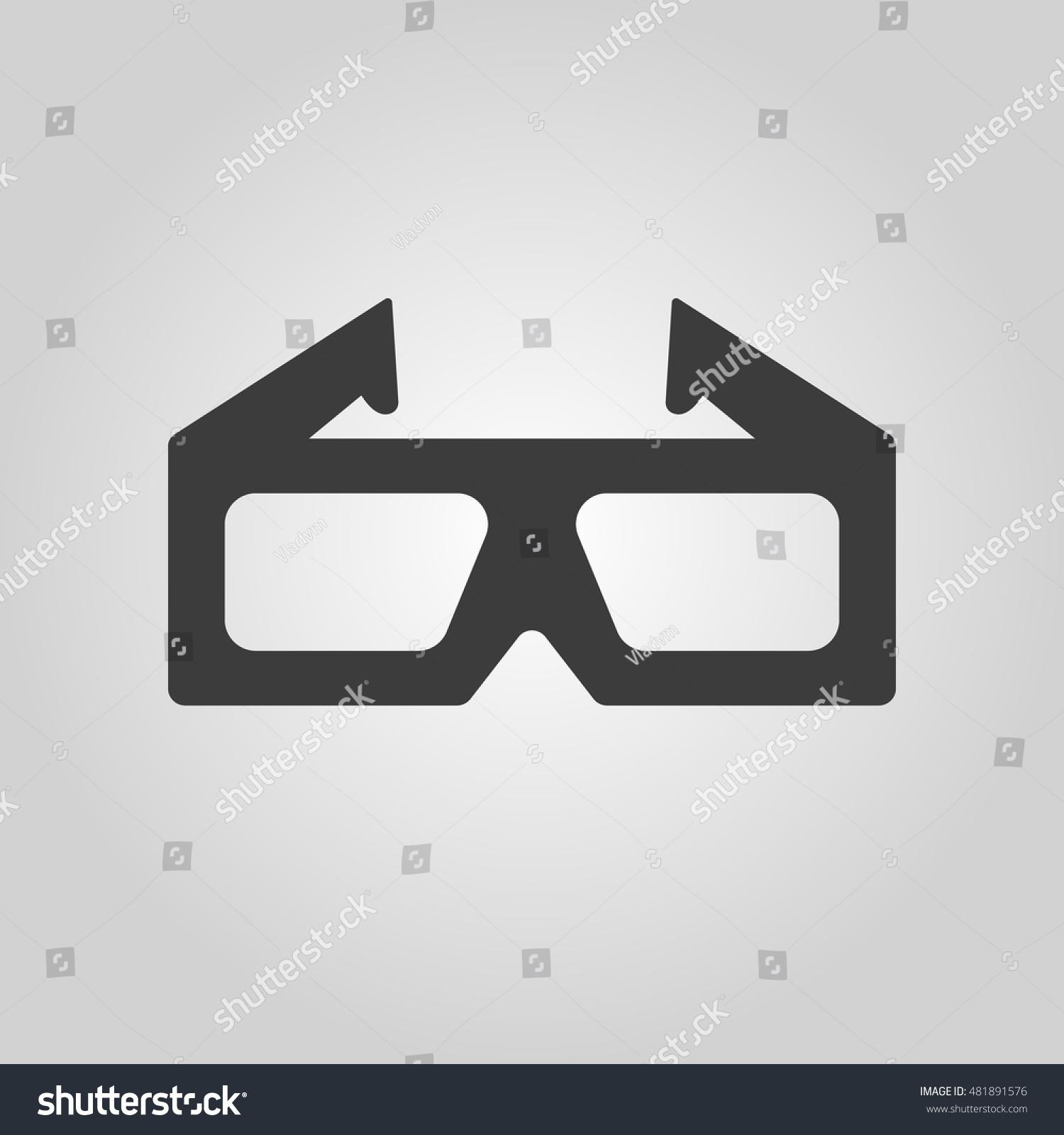 3 D Movie Icon 3 D Glasses Symbol Stock Illustration 481891576