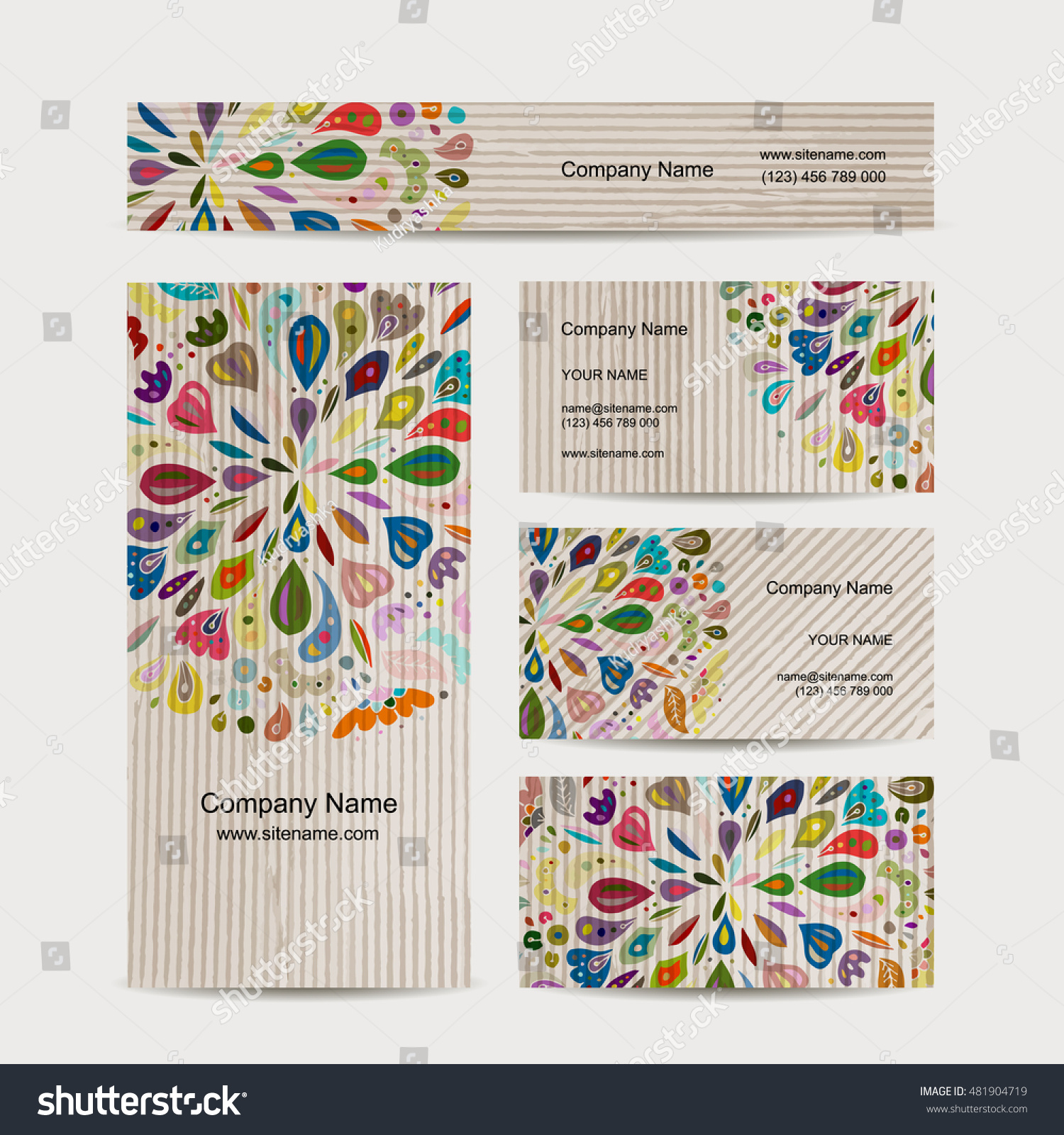 Business Card Collection Abstract Floral Design Stock Vector (2018 ...