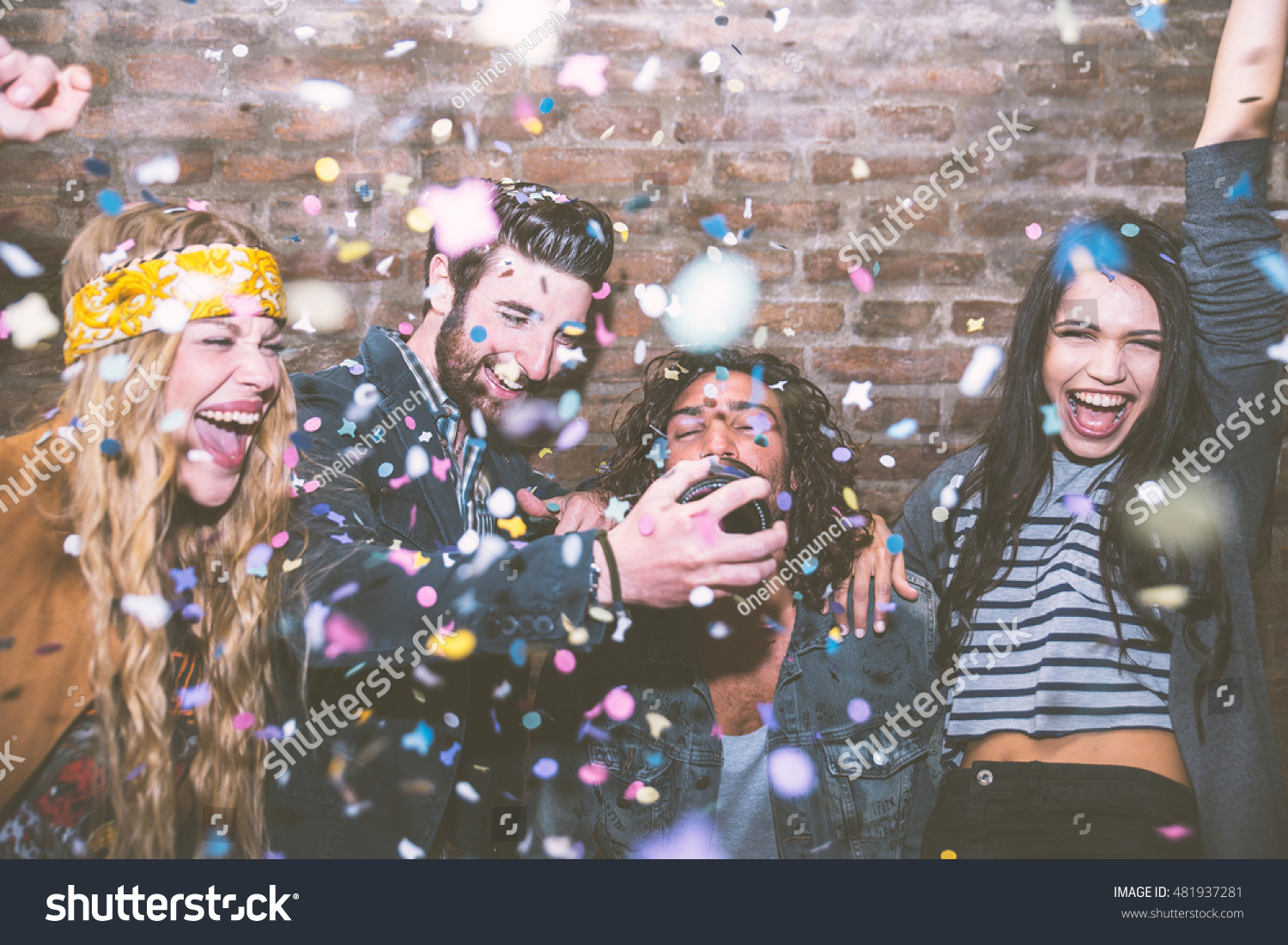 Friends making big party night four stockfoto 481937281 for How to throw a big party