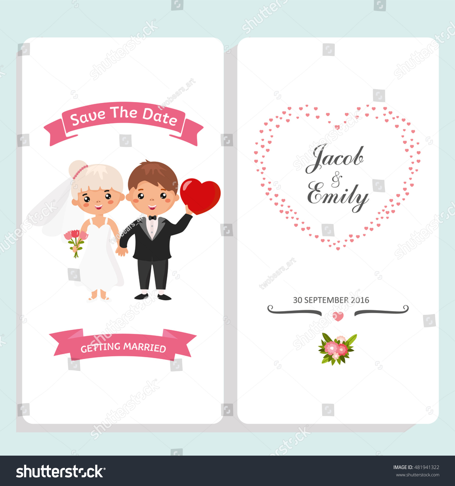 Wedding Invitation Card Template Funny Couple Stock Vector (Royalty ...
