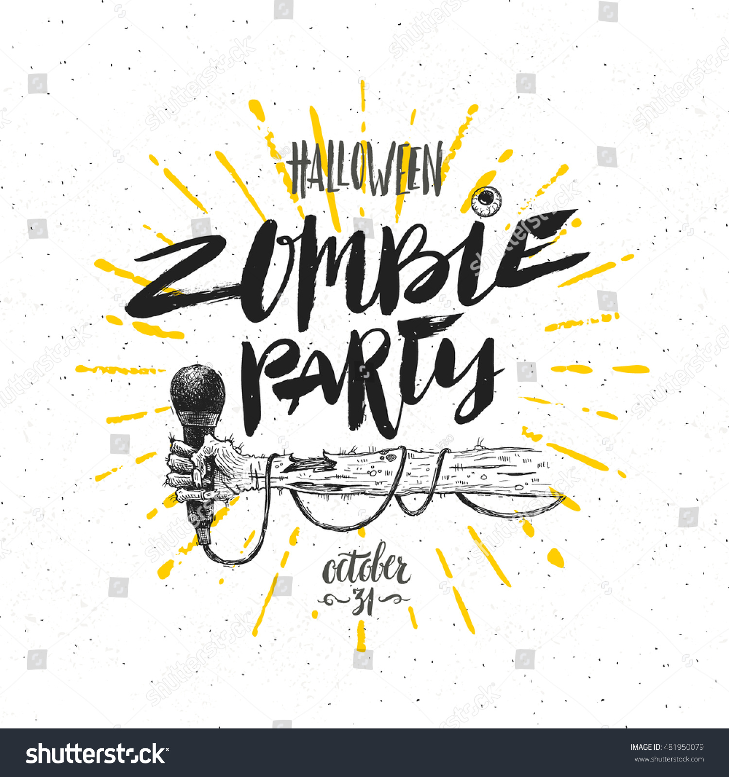 Zombie Party Vector Illustration Halloween Greeting Stock Vector ...