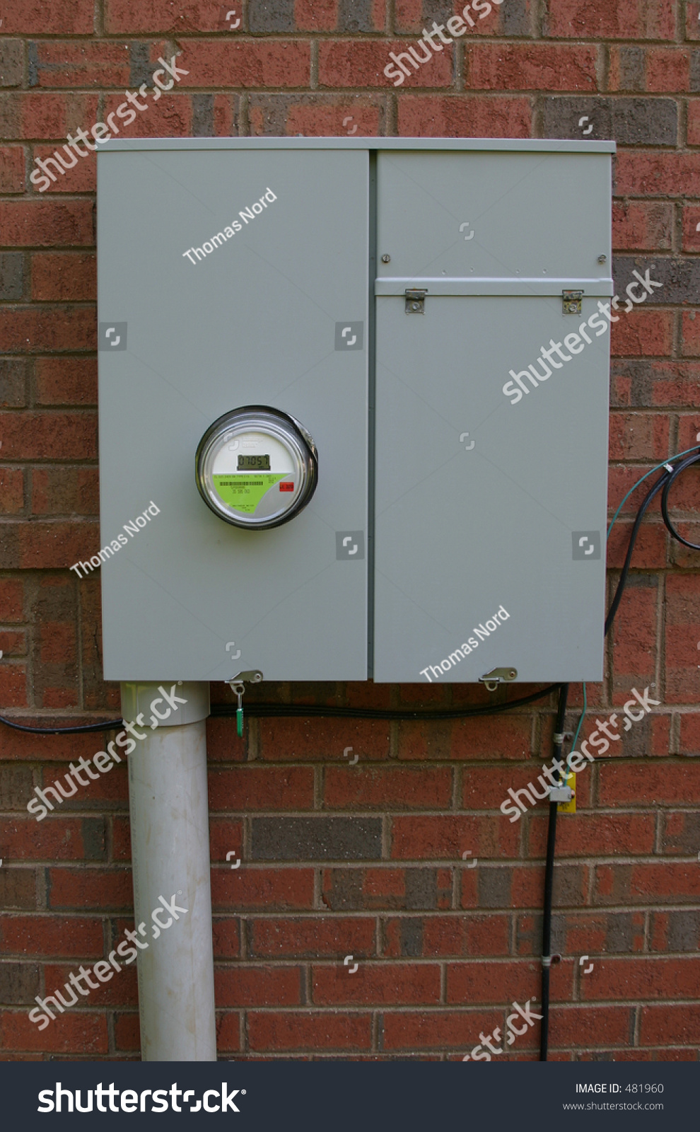 Residential Energy Meter : Residential power box with meter stock photo