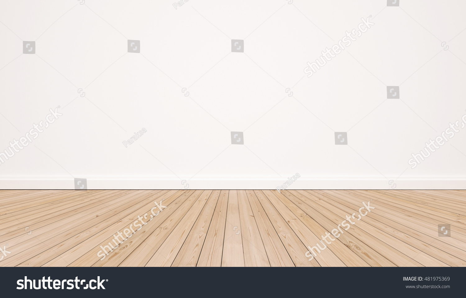 Oak wood floor with white wall #481975369