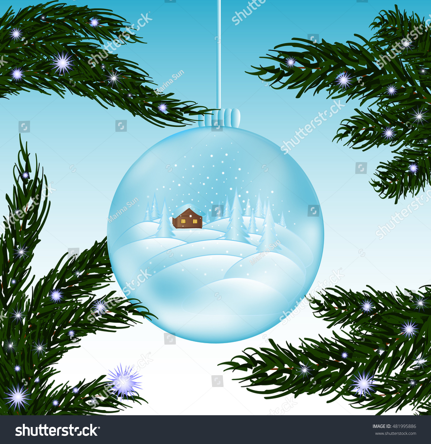 Merry Christmas Beautiful Vector Greeting Cad Stock Vector (Royalty ...