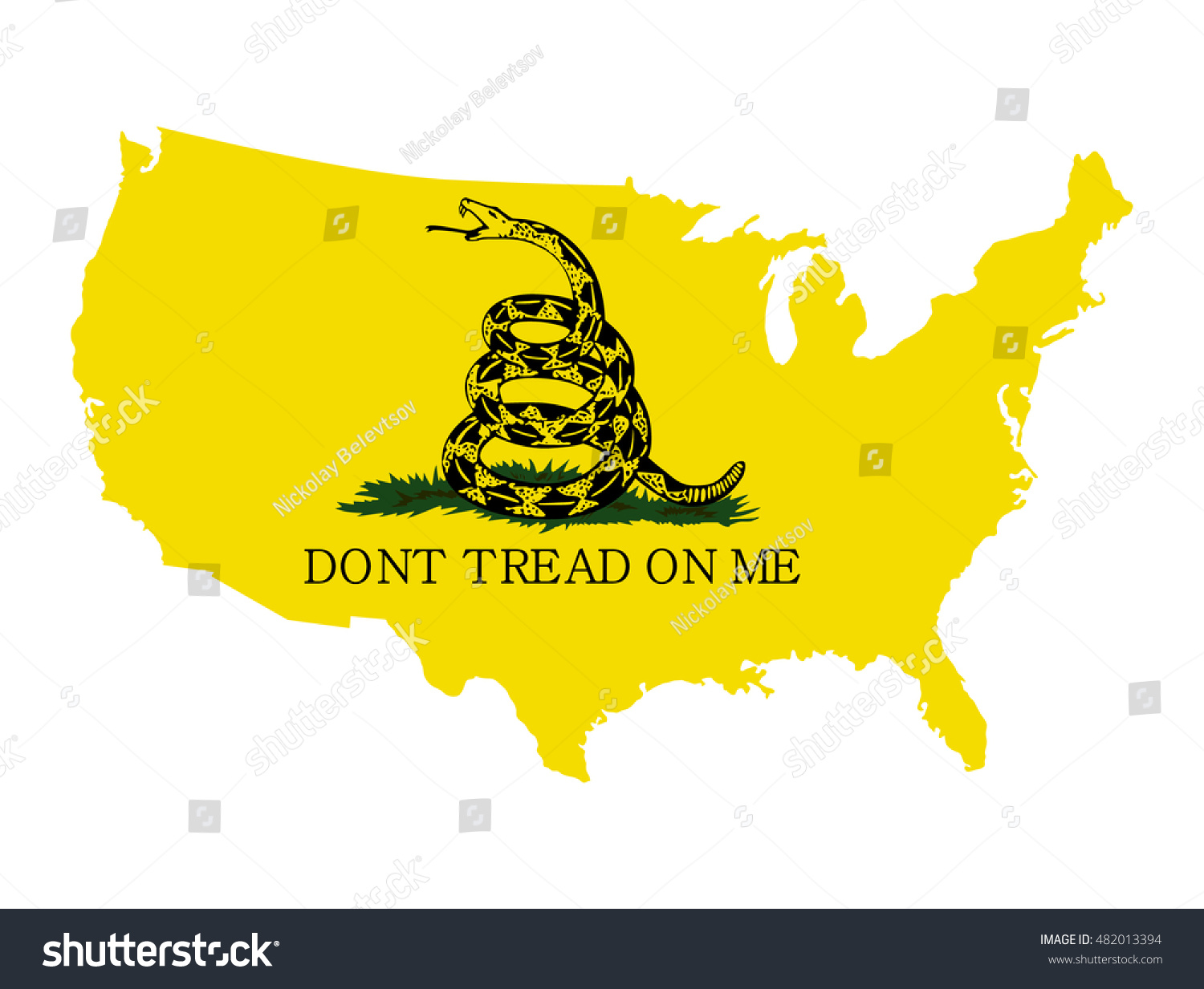 Vector Map Of The Usa With A Rattlesnake With The Gadsden Flag And The Inscription Don