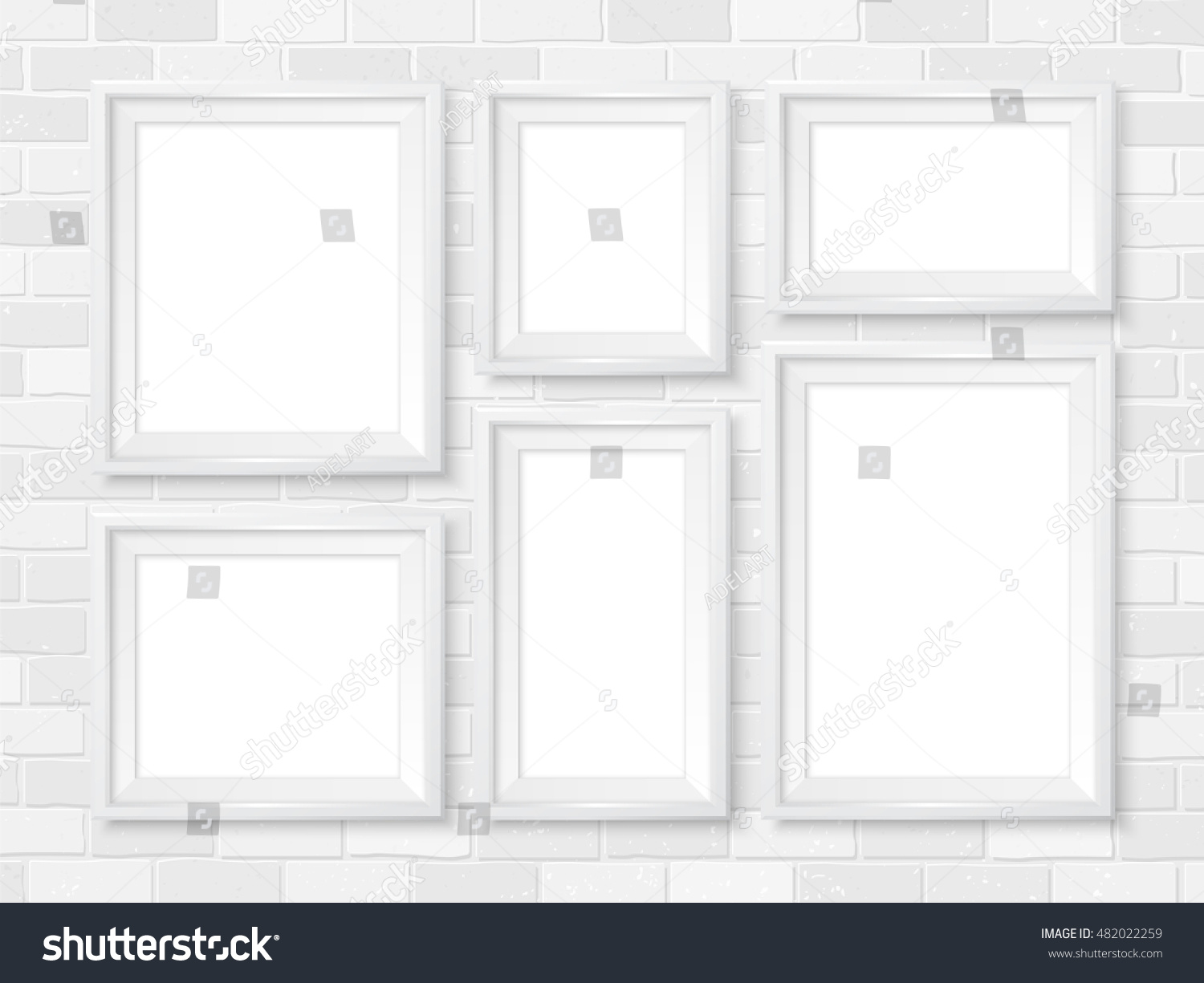 modern white picture frames. Frames Wall Gallery On White Brick Wall. Modern Picture Mock Up. Empty