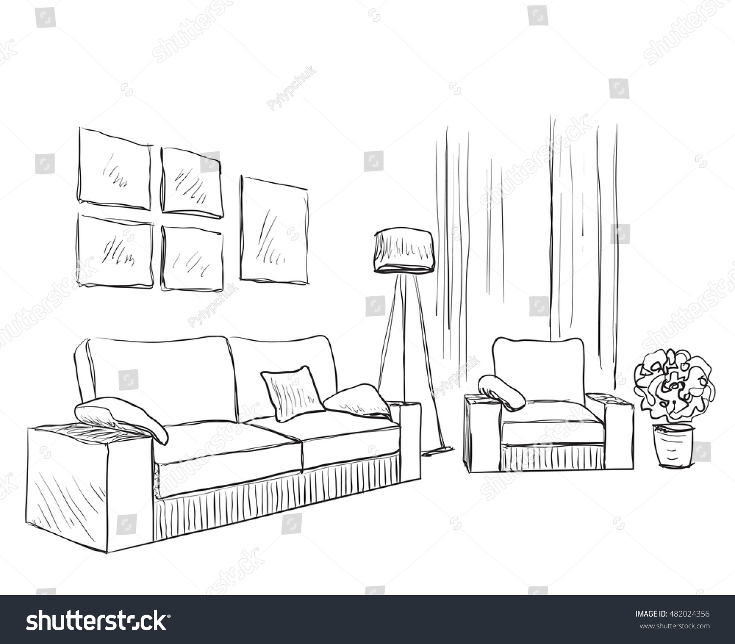 Modern Interior Room Sketch Hand Drawn Stock Vector