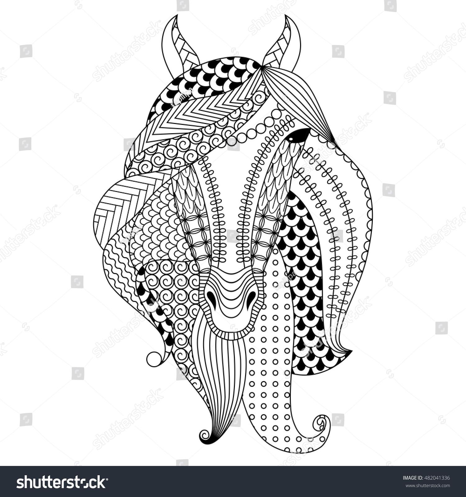 handdrawn horse coloring book adults vector stock vector 482041336