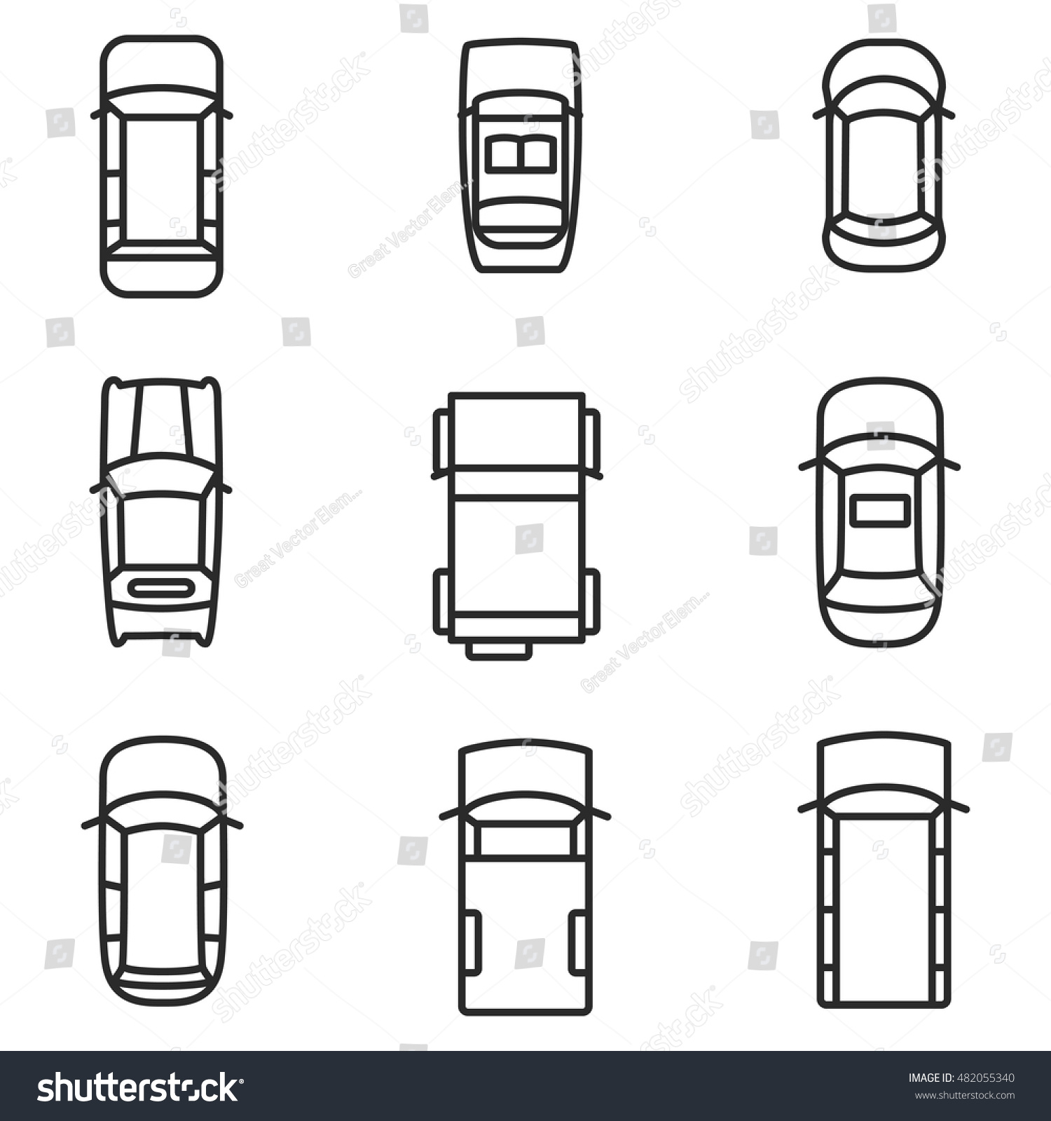 Car Top View Vector Icons Simple Stock Vector Royalty Free 482055340