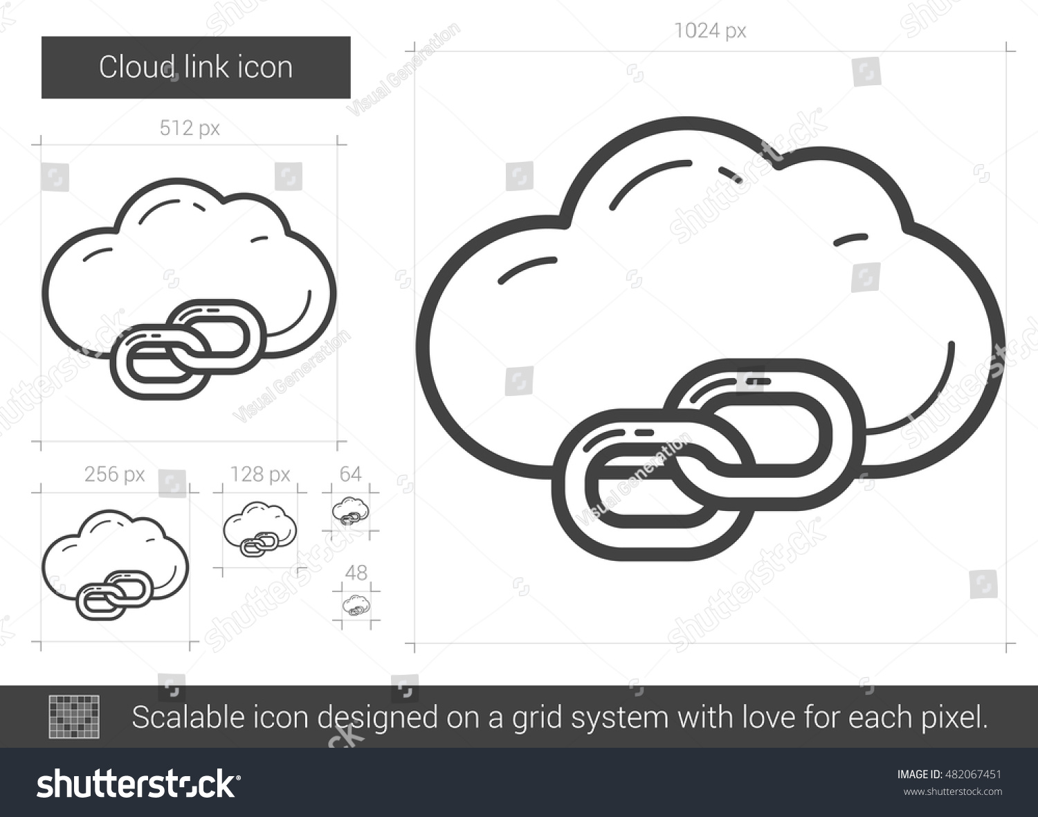 Cloud Link Vector Line Icon Isolated Stock Vector (Royalty