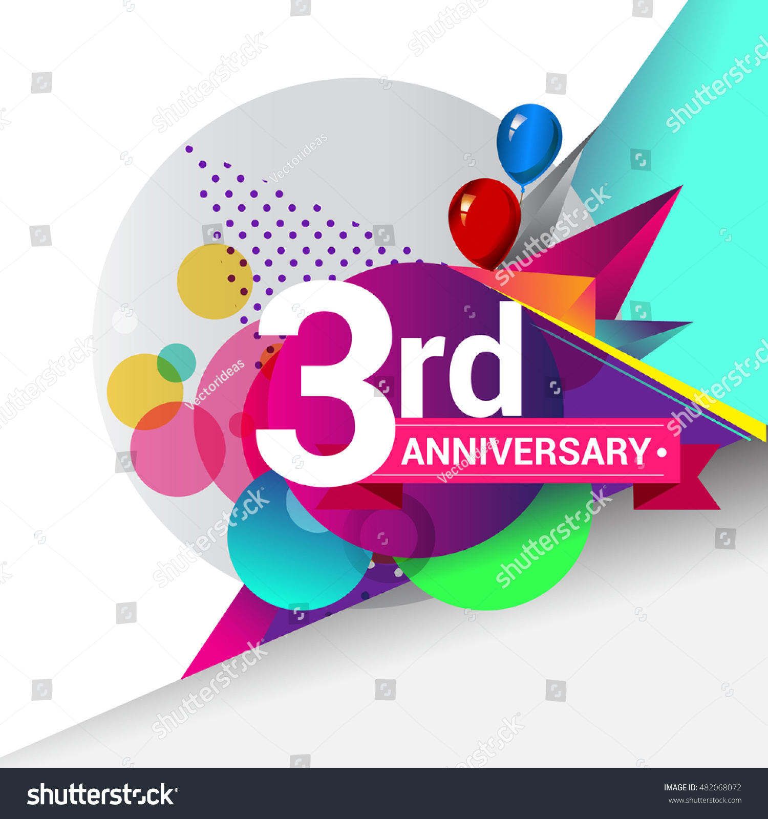 3rd Anniversary Logo Colorful Geometric Background Stock