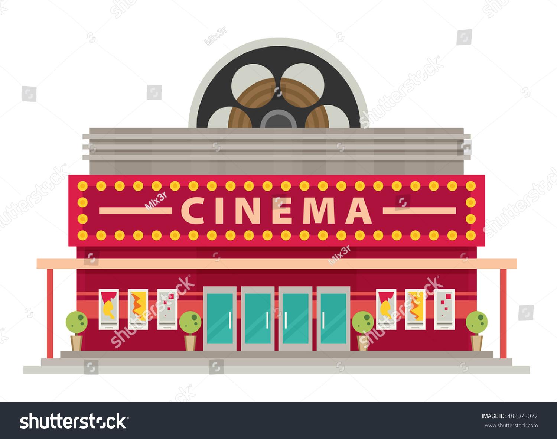 Cinema Building Flat Style Movie Theater Stock Vector ... Cinema Building Cartoon