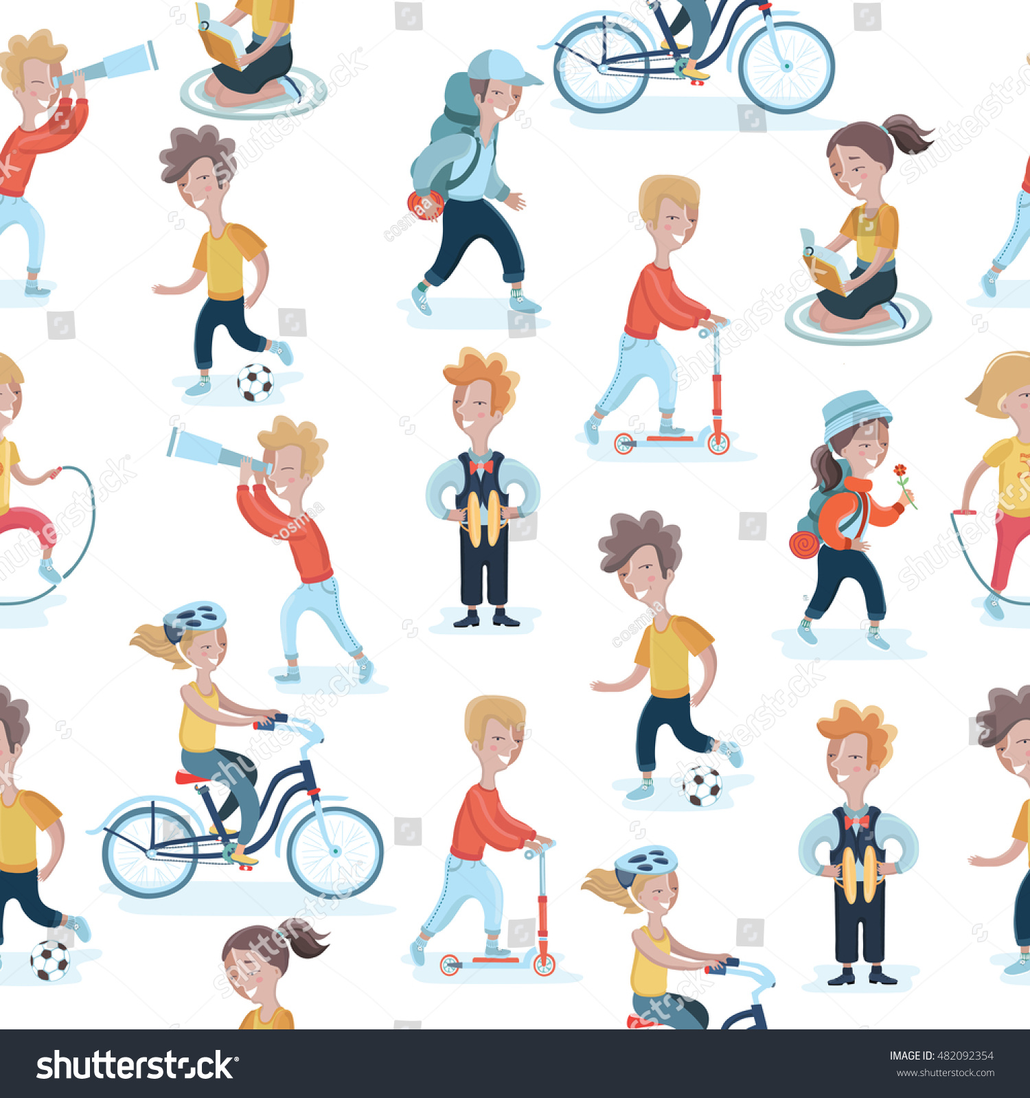 hobbies for kids. vector seamless pattern with children in different actions. kids hobbies background for